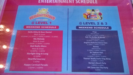 Entertainment schedule varies by day