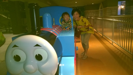 B rode this 3x! The solo ride in front in the tank engine made his day