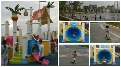 Lots of open spaces to run, scoot and bike. There's also a kid's waterpark (not yet completed)