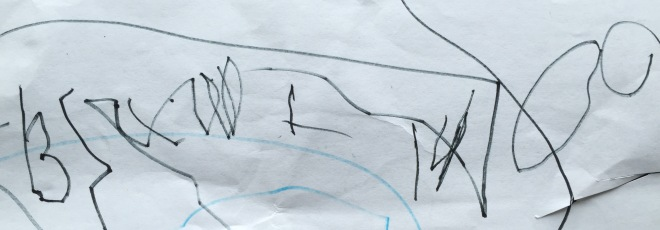 No it's not modern art, but B's writing his full name out just after turning 3